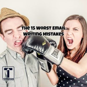 15 Worst Email Writing Mistakes, Woman punching Man with boxing gloves